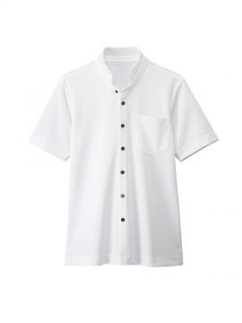 BS-23304 スタンドカラーシャツ(男女兼用) 白
