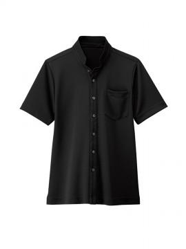 BS-23304 スタンドカラーシャツ(男女兼用) 黒