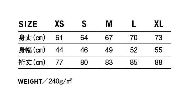 TRW139 トライブレンド クルーネックスウェット サイズ表