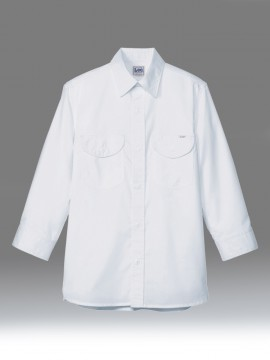 BM-LCS46004 メンズシャンブレー七分袖シャツ ホワイト