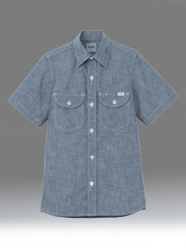 BM-LCS46005 メンズシャンブレー半袖シャツ ブルー