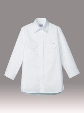 BM-LCS43004 レディースシャンブレー七分袖シャツ 拡大画像 ホワイト