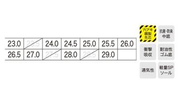XB85002 セフティシューズ サイズ表