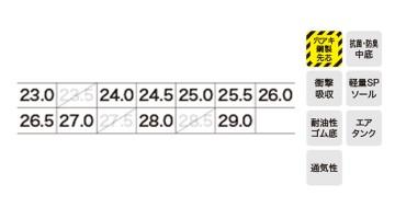 XB85101 セフティシューズ サイズ表