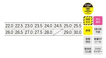 XB85111 プロスニーカー サイズ表