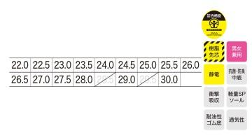 XB85112 プロスニーカー サイズ表