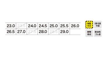85116 セフティシューズ サイズ表
