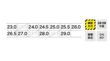 85126 セフティシューズ サイズ表