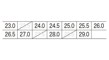 XB85405 プロスニーカー サイズ表