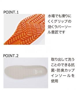 XB85664 セフティ厨房シューズ 機能 グリップ ラバーソール 抗菌 防臭カップインソール