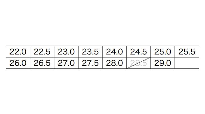 XB85664 セフティ厨房シューズ サイズ表
