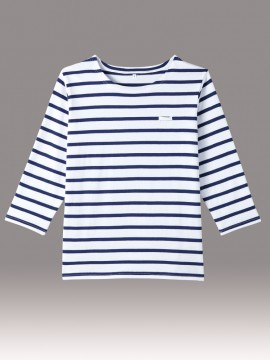 ARB-AS8253 バスクシャツ(男女兼用・七分袖) 拡大画像・ネイビー