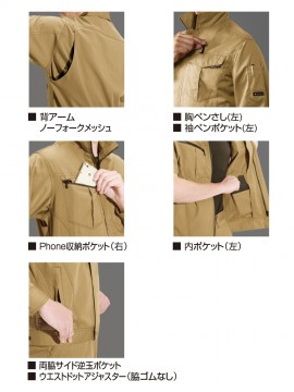 BUR6082 半袖ジャケット(ユニセックス) 多機能紹介