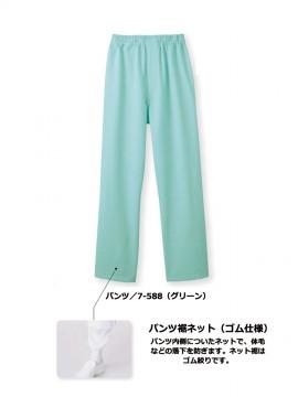 CK7586 パンツ(男女兼用・総ゴム+ヒモ付) 機能 パンツ裾ネット