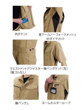 BUR7092 半袖ジャケット(ユニセックス) 多機能紹介