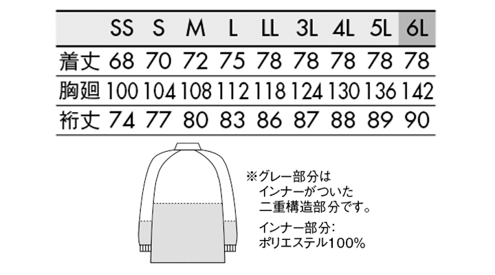 RS8511 ブルゾン(男女兼用・長袖) サイズ一覧