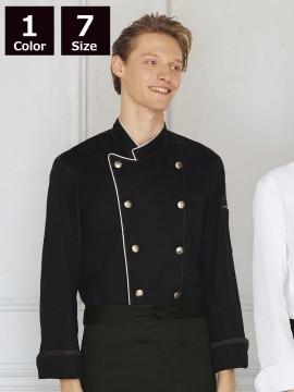 ARB-AS8114 コックコート(男女兼用・長袖) ブラック モデル着用画像