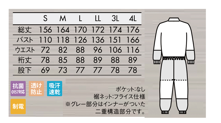 DF89012 オーバーオール(男女兼用・長袖) サイズ一覧