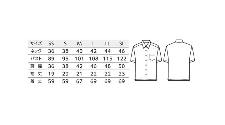 BS-23305 ボタンダウンシャツ(男女兼用) サイズ