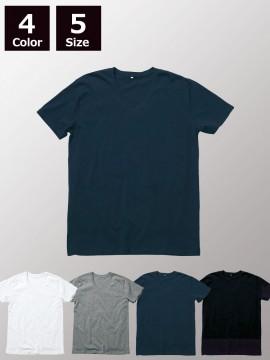 4.3ozオーガニックコットンVネックTシャツ