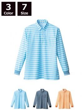 チェックプリントポロシャツ長袖(男女兼用)