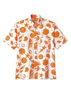 BM-FB4541U アロハシャツ(貝柄) 拡大画像 オレンジ