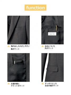 FJ0007M メンズスリムストレッチジャケット 機能 胸ポケット 内ポケット チケットポケット
