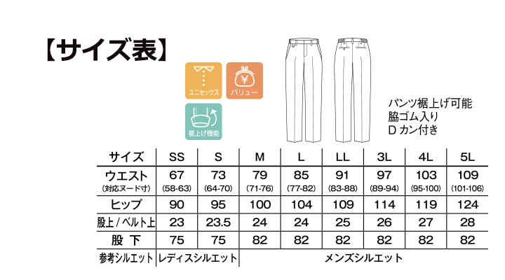BM-FP6707U 裾上げらくらくスリムパンツ サイズ表