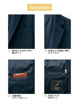 FJ0013M メンズストレッチジャケット 機能 ポケット ラペル穴