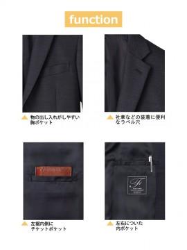 FJ0020M メンズストレッチジャケット ポケット ラペル穴