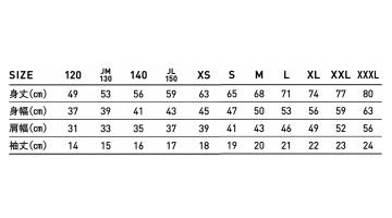 FDT100 ファンクショナルドライ Tシャツ サイズ表