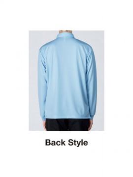 WE-00314-ABL 4.4oz ドライボタンダウン長袖ポロシャツ バックスタイル