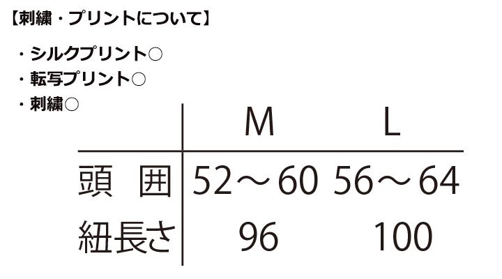 ARB-AS8318 和風キャップ(男女兼用) サイズ表