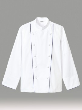 ARB-AS8329 コックコート(男女兼用・長袖) ホワイト 白 レッド