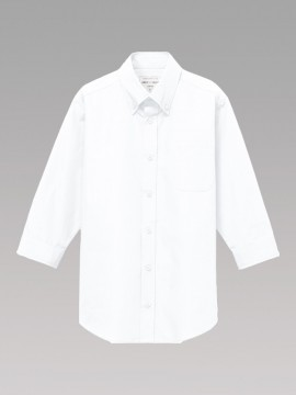 ARB-EP8358 ボタンダウンシャツ(男女兼用・七分袖) ユニセックス トップス 白 ホワイト