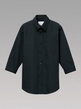 ARB-EP8358 ボタンダウンシャツ(男女兼用・七分袖) ユニセックス トップス 黒 ブラック