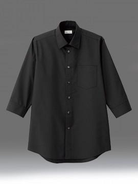 BM-FB5042M メンズレギュラーカラー七分袖シャツ 拡大画像 ブラック