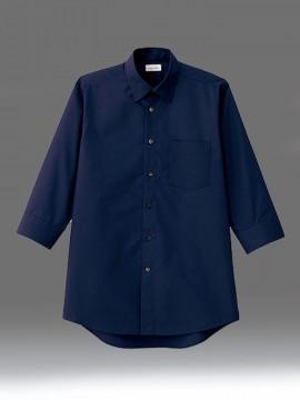 BM-FB5042M メンズレギュラーカラー七分袖シャツ 拡大画像 ネイビー