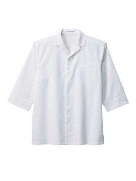 BM-FB4542U ユニセックス開襟和シャツ 拡大画像 ホワイト