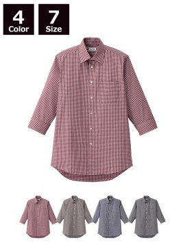 BM-FB5048M メンズセミワイドカラー七分袖シャツ