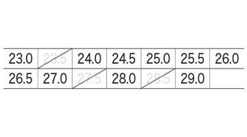 XB85407 プロスニーカー サイズ表