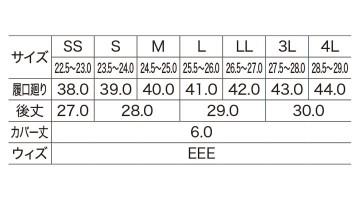 XB85719 セフティ長靴 サイズ表