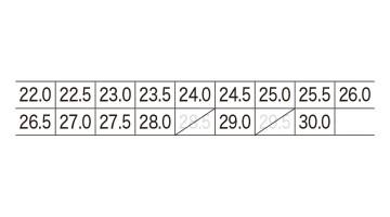 XB85112S 入替静電インソール サイズ表