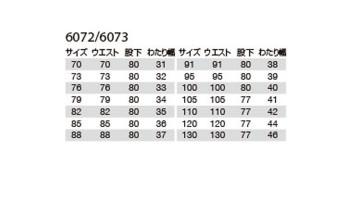 6073 パンツ サイズ表