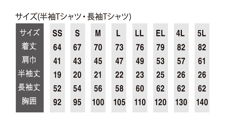OD-08120 DRY帯電防止 半袖Tシャツ サイズ表