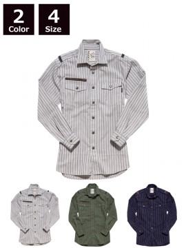 ストライプミリタリーシャツ