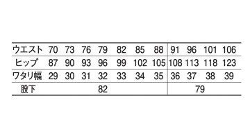 JC-225 カーゴパンツ サイズ表