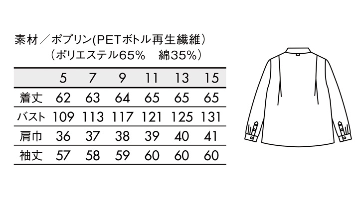 BW8002 ブラウス(長袖) サイズ一覧