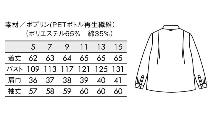 BW8003 ブラウス(長袖) サイズ一覧