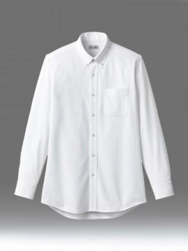 BM-FB4557U ボタンダウンニット長袖シャツ 拡大画像 ホワイト